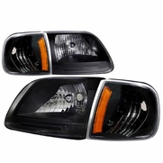 97-03 Ford F150 / Expedition Euro Style Crystal Headlights - Black