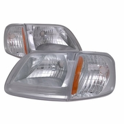 97-03 Ford F150 / Expedition Euro Style Crystal Headlights - Chrome