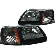 97-03 Ford F150 / Expedition Euro Style Crystal Headlights - Smoked