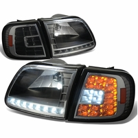 97-03 Ford F150 / Expedition Euro Style LED Crystal Headlights + LED Corner - Black