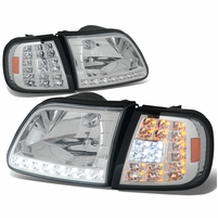 97-03 Ford F150 / Expedition Euro Style LED Crystal Headlights + LED Corner - Chrome