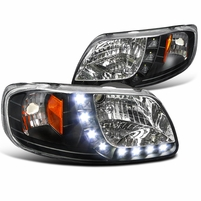 97-03 Ford F150 / Expedition Euro Style LED DRL Crystal Headlights - Black