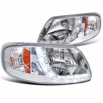 97-03 Ford F150 / Expedition Euro Style LED DRL Crystal Headlights - Chrome