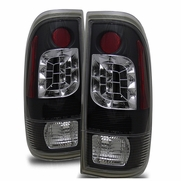 97-03 Ford F150 / F250 / F350 Euro Style LED Tail Lights - Black