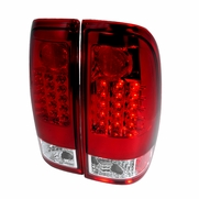 97-03 Ford F150 / F250 / Super Duty Euro Style LED Tail Lights - Red / Clear