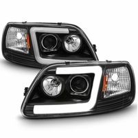 97-03 Ford F150 LED Tube Projector Headlights - Black