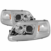 97-03 Ford F150 LED Tube Projector Headlights - Chrome