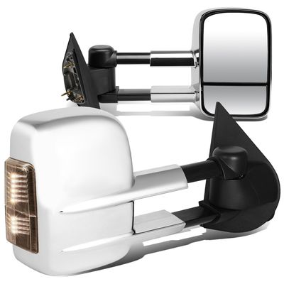 97-03 Ford F150 Pair of Chrome Powered + Smoked Signal Glass + Manual Extenable Side Towing Mirrors
