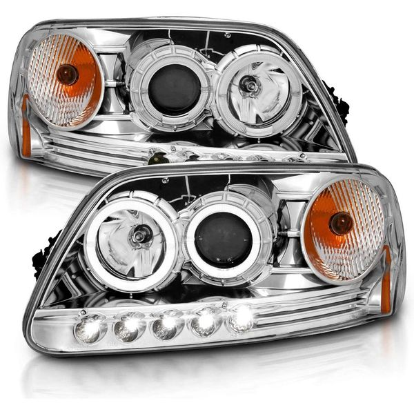 97-03 Ford F150 / 97-02 Expedition LED DRL Halo Projector Headlights - Chrome