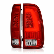 97-03 Ford F150 Styleside / 99-07 F250-550 Super Duty  V2 LED Tail Lights - Red Clear