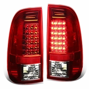 97-03 Ford F150/Super Duty Pair of Clear Lens Red LED Rear Brake+Signal Tail Light