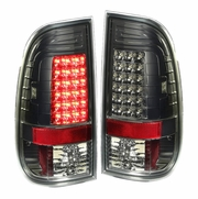97-03 Ford F150/Super Duty Pair of Smoked Lens Red LED Rear Brake+Signal Tail Light