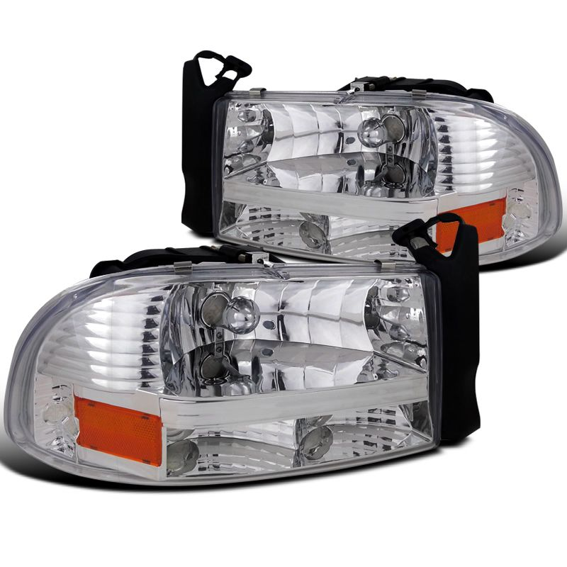 97-04 Dodge Dakota Euro Chrome Crystal Headlights+Clear Rear Tail Lamps