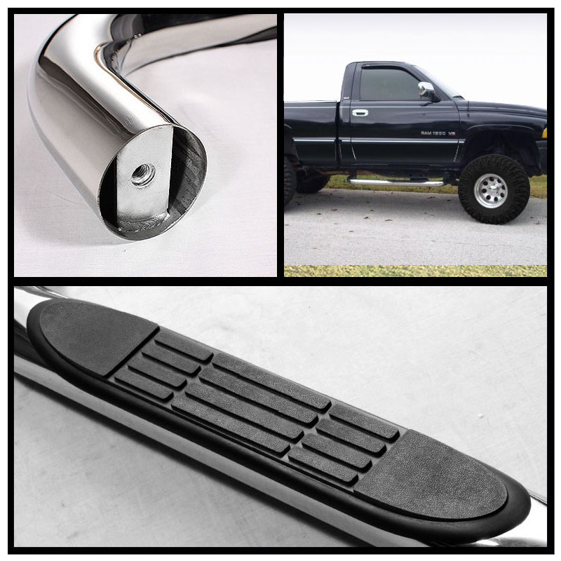97 03 Ford F150 97 99 F250 Regular Standard Cab 3 Side Step Bar Black
