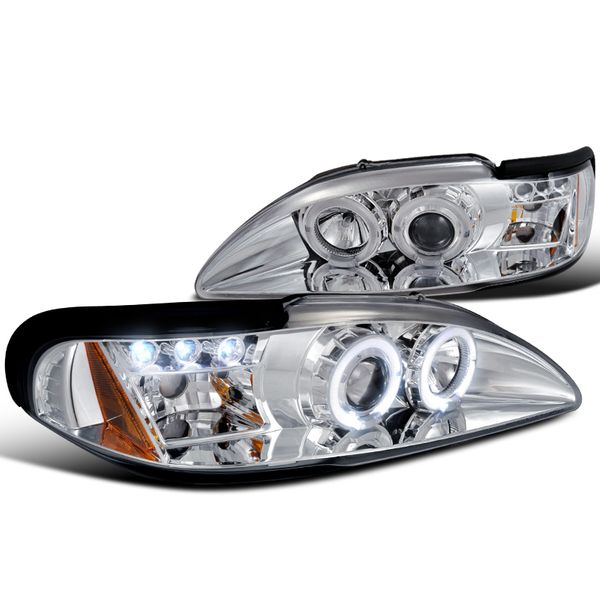 94-98 Ford Mustang Angel Eye Halo & LED DRL Projector Headlights - Chrome