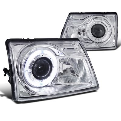 98-00 Ford Ranger Pickup Halo Projector Headlights - Chrome