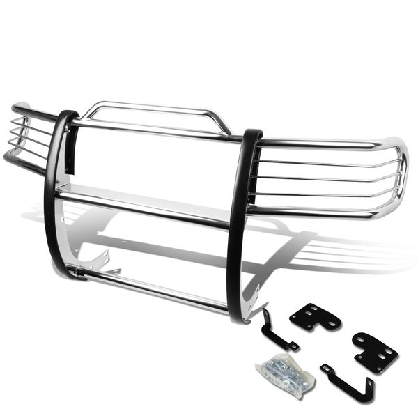 98-00 Nissan Frontier / 00-01 Xterra Front Bumper Protector Brush Grille Guard (Chrome)