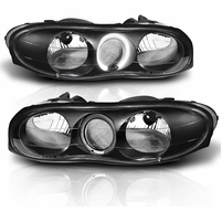 98-02 Chevy Camaro Angel Eye Halo Crystal Headlights - Black
