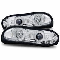 98-02 Chevy Camaro LED Angel Eye Halo & LED Euro Projector Headlights - Chrome