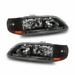 98-02 Honda Accord 2/4dr Crystal Replacement Headlights - Black