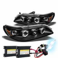 HID Xenon + 98-02 Honda Accord Angel Eye Halo Projector Headlights - Black