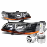 98-02 Honda Accord Headlights with Amber Reflector (Black Housing)+6000K White LED w/ Fan
