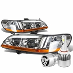 98-02 Honda Accord Headlights with Amber Reflector (Chrome Housing)+6000K White LED w/ Fan