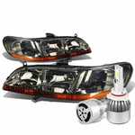 98-02 Honda Accord Headlights with Amber Reflector (Smoke Lens)+6000K White LED w/ Fan