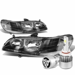 98-02 Honda Accord Headlights with Clear Reflector (Black Housing)+6000K White LED w/ Fan