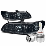 98-02 Honda Accord Headlights with Clear Reflector (Smoke Lens)+6000K White LED w/ Fan
