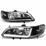 98-02 Honda Accord LED DRL Strip Crystal Headlights - Black Clear