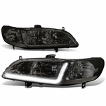 98-02 Honda Accord LED DRL Strip Crystal Headlights - Smoked Clear