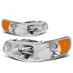 98-02 Lincoln Town Car Factory Style Replacement Headlights - Chrome / Amber