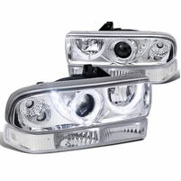 98-04 Chevy S10 / Blazer Chrome Clear Halo Projector Headlights+ Bumper Lamps