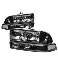 98-04 Chevy S10 / Blazer Crystal Replacement Headlights - Black Clear