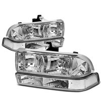 98-04 Chevy S10 / Blazer Crystal Replacement Headlights - Chrome Clear
