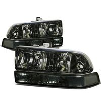 98-04 Chevy S10 / Blazer Crystal Replacement Headlights - Smoked Clear