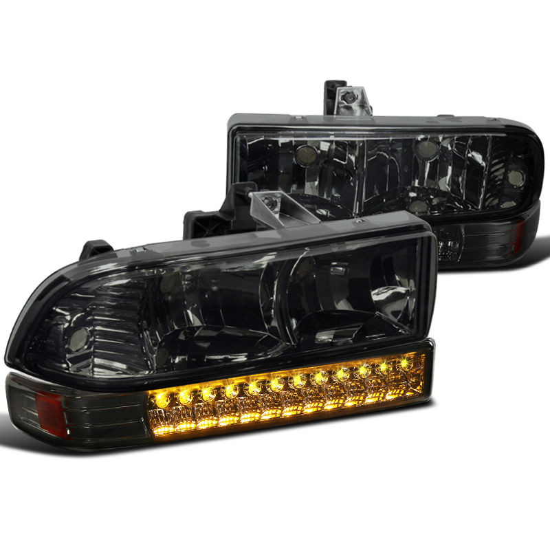 98-04 Chevy S10 / Blazer Euro Style Crystal Headlights + LED