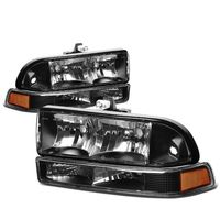 98-04 Chevy S10 / Blazer Replacement Crystal Headlights - Black Amber
