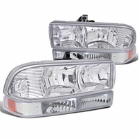 98-04 Chevy S10 / Blazer Replacement Crystal Headlights - Chrome Amber