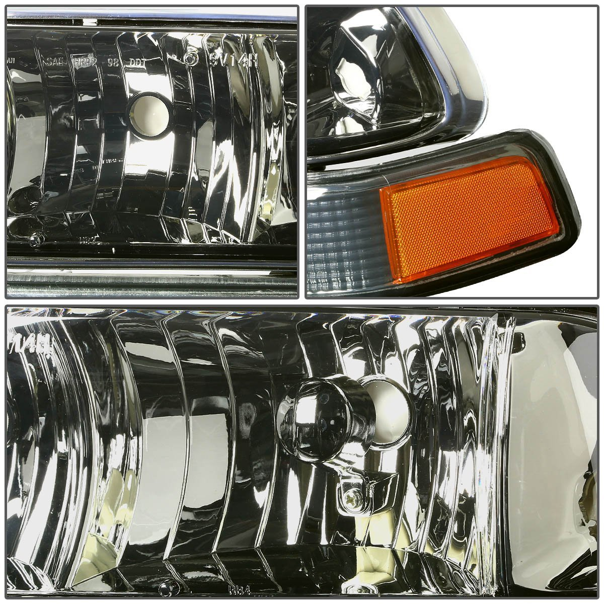 SMOKED HOUSING HEADLIGHT+AMBER SIGNAL+BLACK FRONT GRILL FOR 98-04 S10//BLAZER