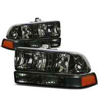 98-04 Chevy S10 / Blazer Replacement Crystal Headlights - Smoked Amber