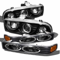 98-04 Chevy S10 Pickup Halo Projector Headlgihts + Bumper Lens - Black