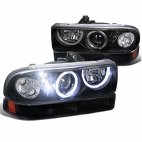 98-04 Chevy S10 Pickup Halo Projector Headlights / Bumper Lens Combo - Black