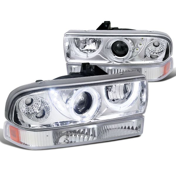 98-04 Chevy S10 Pickup Halo Projector Headlights / Bumper Lens Combo - Chrome