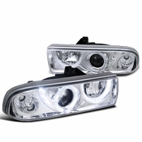 98-04 Chevy S10 Pickup Halo Projector Headlights - Chrome
