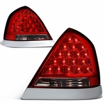 98-11 Ford Crown Victoria LED Tail Lights - Red / Chrome Bazel