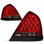98-11 Ford Crown Victoria LED Tail Lights - Smoked / Chrome Bazel