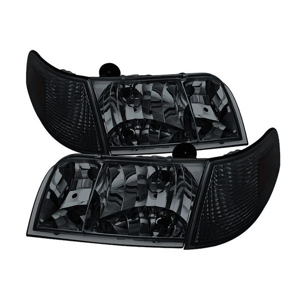 98-11 Ford Crown Victoria Replacement Crystal Headlights + Corner - Smoked