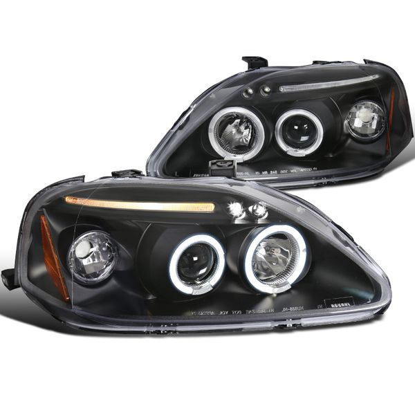 Spec-D 99-00 Honda Civic Angel Eye Halo & LED Projector Headlights - Black 2LHP-CV99JM-TM